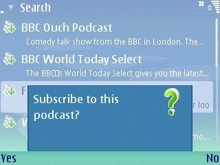 Nokia Podcast Application screenshot