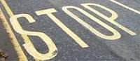 stopmarkering op weg