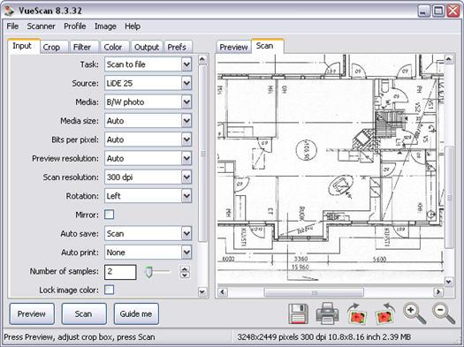 VueScan screenshot (resized)