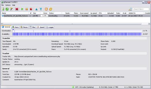 �Torrent 1.6 RC1 build 467 screenshot (resized)