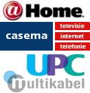 @Home-, Casema-, UPC- en Multikabel-logo's