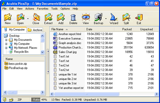 PicoZip screenshot (resized)