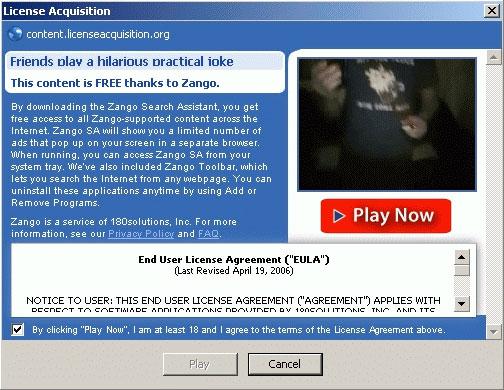 Zango-installerende videospeler op MySpace