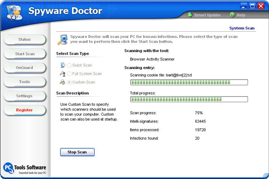Spyware Doctor 4.0 screenshot (resized)