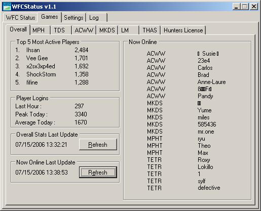 WFCStatus - spelstatistieken