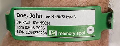 Polsbandje met HP Memory Spot