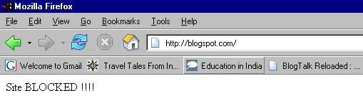 Geblokkeerd Blogspot-domein in India