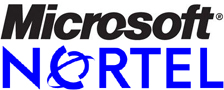 Microsoft- en Nortel-logo's