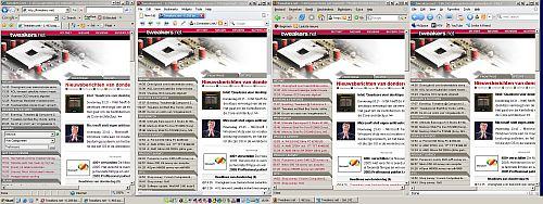 Vier browsers naast elkaar