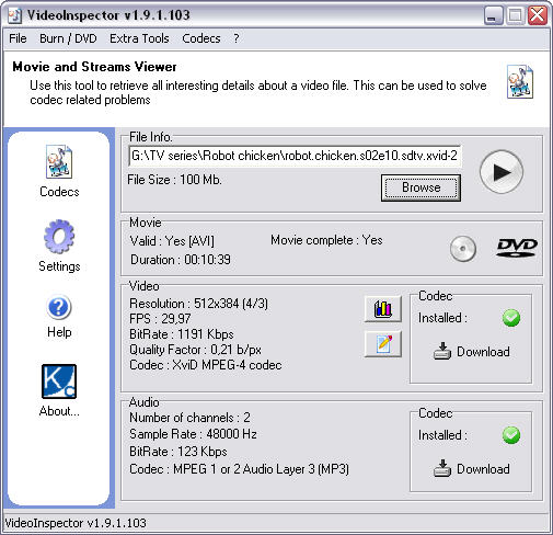 VideoInspector 1.9.1.103 screenshot