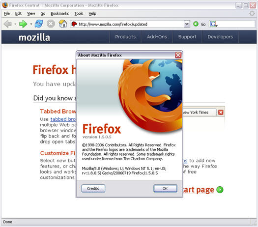 Mozilla Firefox 1.5.0.5 met about scherm