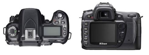 Nikon D80 achter- en bovenkant