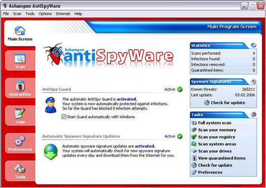 Ashampoo AntiSpyWare screenshot (resized)