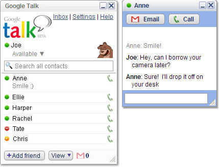 Google Talk screenshot