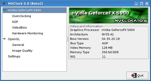 NVClock 0.8 beta 2 screenshot (resized)