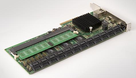 Areca ARC-1280 pcb (zijde van SATA-connectors)