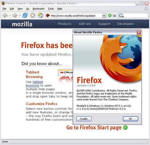 Mozilla Firefox 1.5.0.6 screenshot na update (resized)