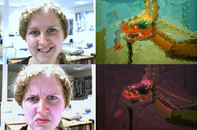 Empatisch schilderij reageert op emotie