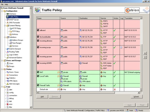 Kerio WinRoute Firewall screenshot (resized)