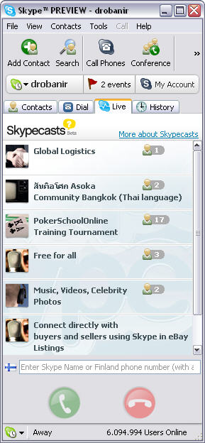 Skype for Windows 2.6.0.44 (public beta) screenshot