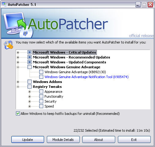 AutoPatcher XP - August 2006 screenshot