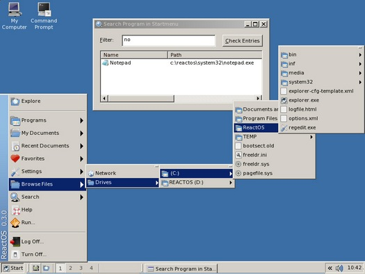 ReactOS 0.3.0 RC2 screenshot (resized)