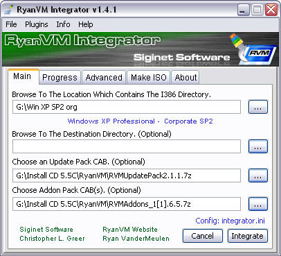 RyanVM's Post-SP2 Update Pack 2.11 in RVM Integrator 1.4.1 screenshot