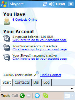 Skype for Pocket PC screenshot