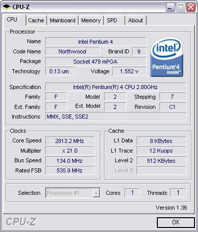 CPU-Z 1.36 screenshot