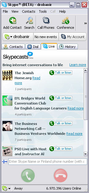 Skype for Windows 2.6 beta