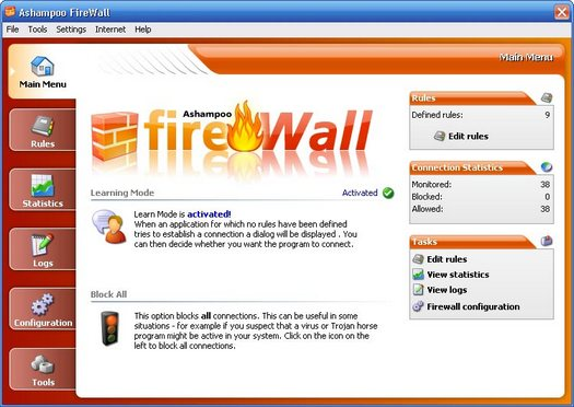 Ashampoo FireWall screenshot (resized)