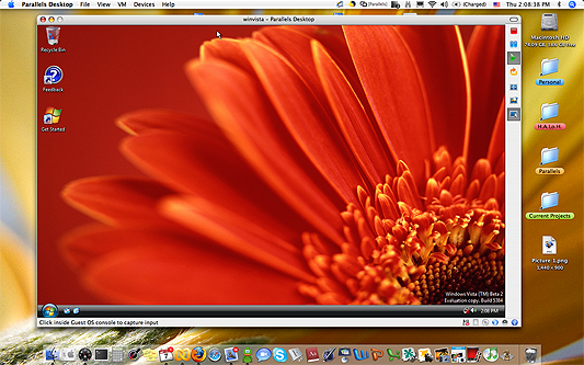 Parallels Desktop for Mac - Windows Vista draaiend onder Mac OS X (klein)
