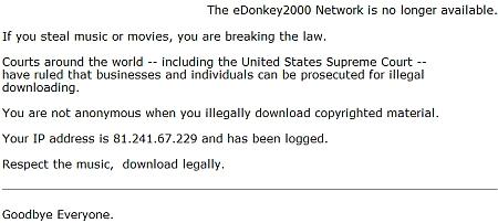 eDonkey-aankondiging