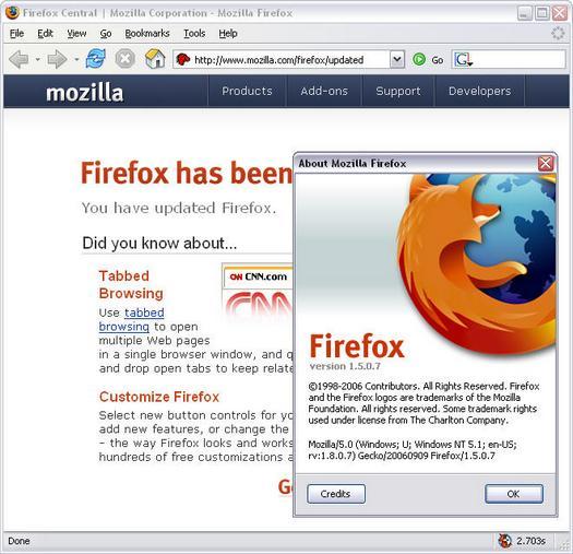 Mozilla Firefox 1.5.0.7 na update (resized)
