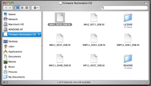 Apple Firmware Restoration CD 1.1 - browsen in de files