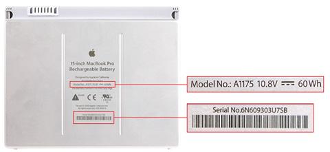 Apple MacBook Pro - serienummervindplaats