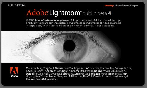 Adobe Photoshop Lightroom beta 4 - slpash screen Macintosh