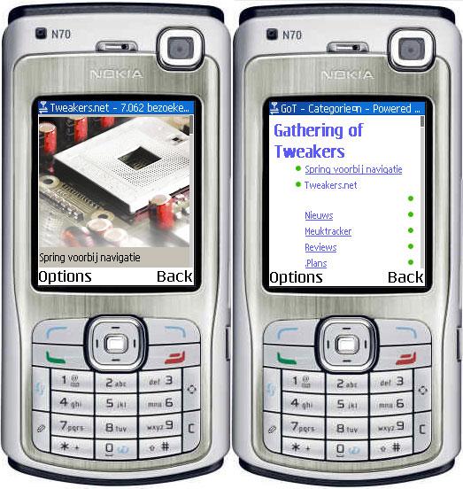.mobi-versie Tweakers.net en GoT op Nokia n70