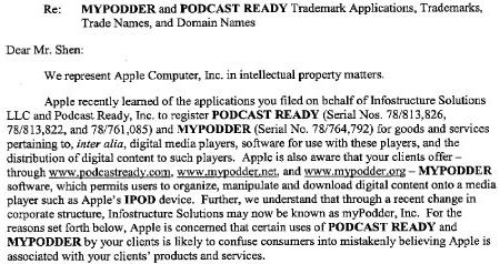 Apple: cease and desist
