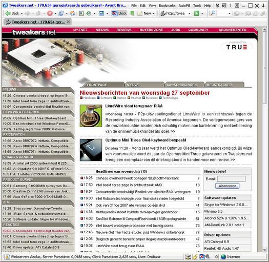 Tweakers.net in Avant Browser 11.0 build 6 (resized)