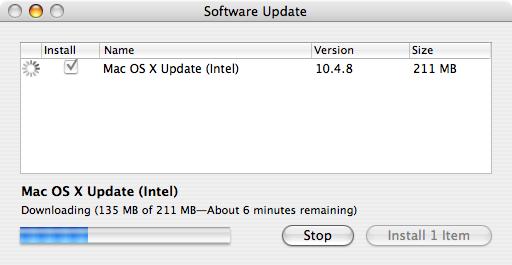 Apple Mac OS X 10.4.8 wordt gedownload