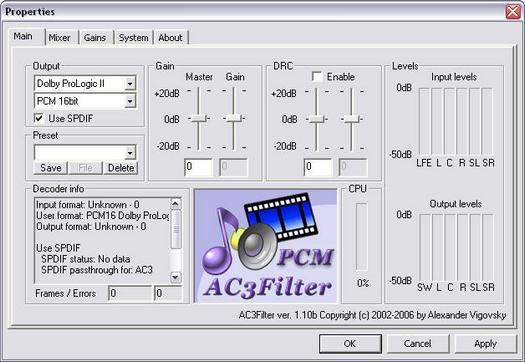 AC3Filter 1.10b screenshot (resized)