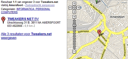 Tweakers.net op Google maps