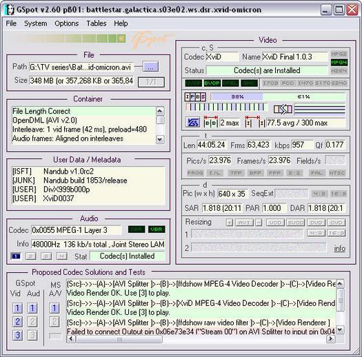 GSpot 2.60 beta 1 screenshot (resized)