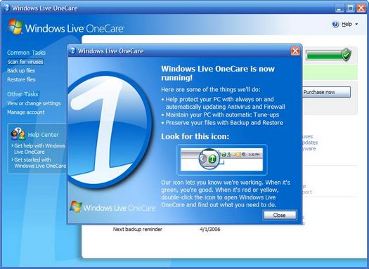 Windows Live OneCare screenshot (resized)