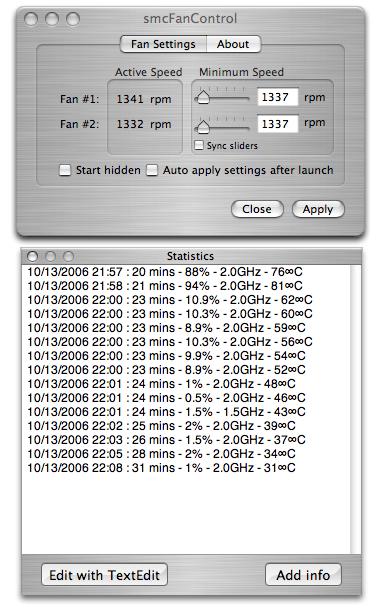smcFanControl 1.1 met wat statistieken van rpm @ 6000