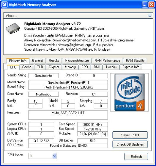 RightMark Memory Analyzer 3.72 screenshot (resized)