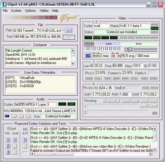 GSpot 2.60 beta 2 screenshot (resized)