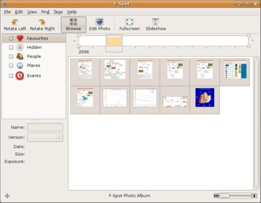 De fotomanager F-Spot, nieuw in Ubuntu Linux 6.10 (resized)