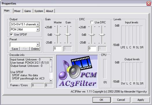 AC3Filter 1.11 screenshot (resized)